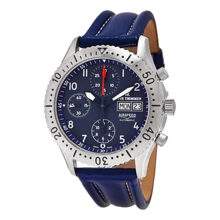 Revue Thommen Men's 16007.6535 'Air Speed' Blue Dial Blue Leather Strap DayDate Chronograph Swiss Automatic Watch