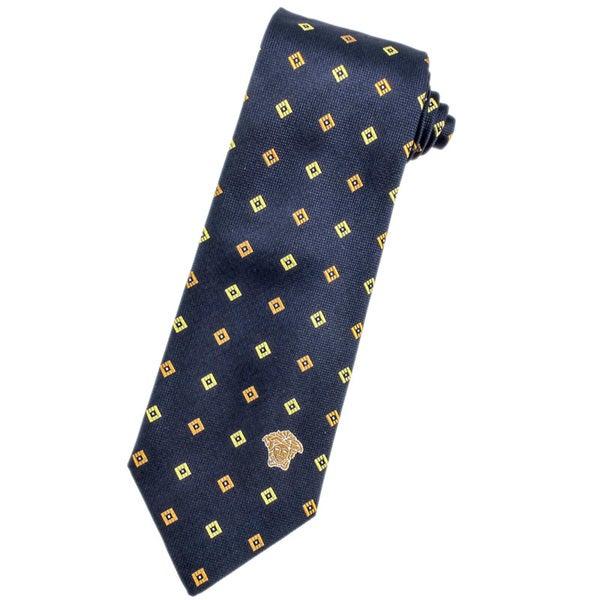 Versace 100-percent Italian Silk Golden Yellow Diamond Neck Tie