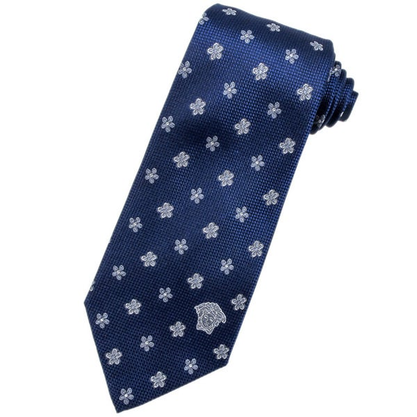 Versace 100-percent Italian Silk Blue Grey Flower Neck Tie