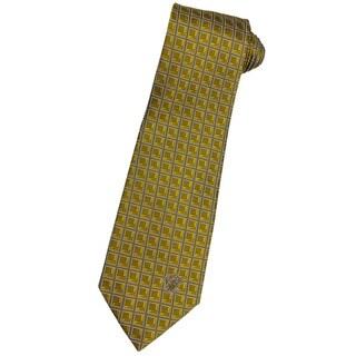 Versace 100-percent Italian Silk Gold Checker Neck Tie