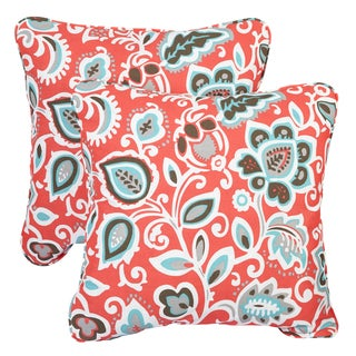 Floral Coral Corded Indoor/ Outdoor Square Pillows (Set of 2)