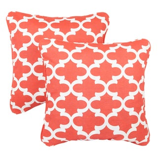 Scalloped Coral Corded Indoor/ Outdoor Square Pillows (Set of 2)