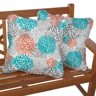 Tropic Bloom Corded Indoor/ Outdoor Square Pillows (Set of 2)