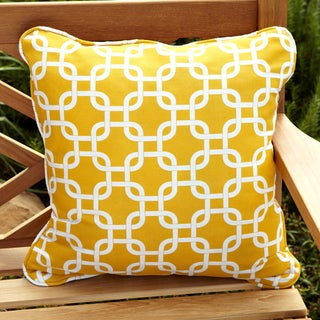 Knotted Yellow Corded Indoor/ Outdoor Square Pillows (Set of 2)