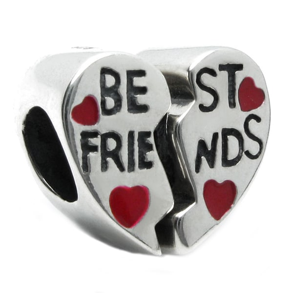 Queenberry Sterling Silver Best Friend Love Red Heart Enamel European Bead Charm