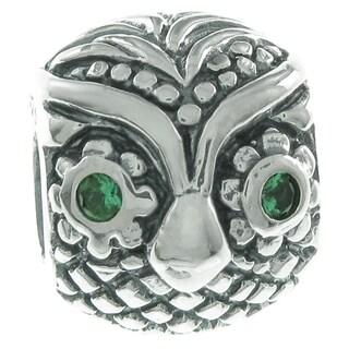 Queenberry Sterling Silver Owl Bird Green CZ European Bead Charm