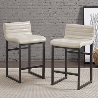 Channel Back Cream Counter Stool (Set of 2)