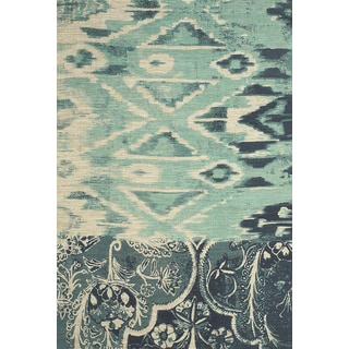 Feizy Teal/ Navy Verapaz Hand-woven Rug (4' x 6')