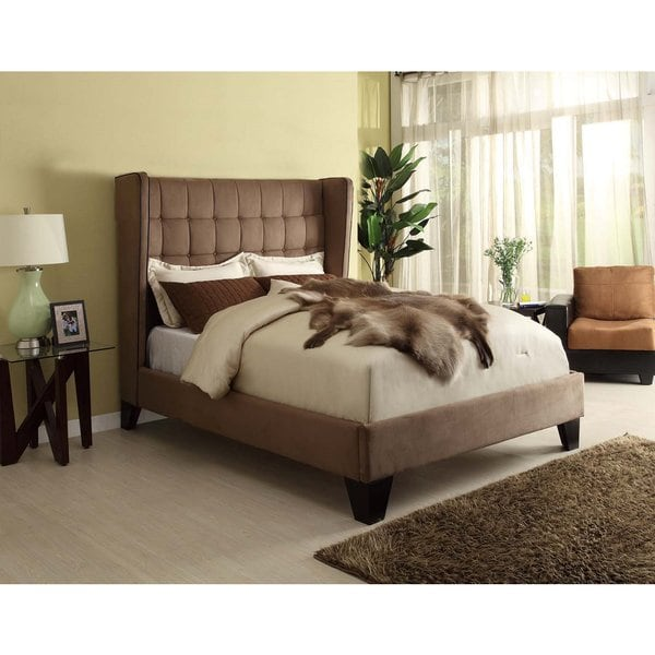 LYKE Home Oliver Brown Microfiber Queen Bed