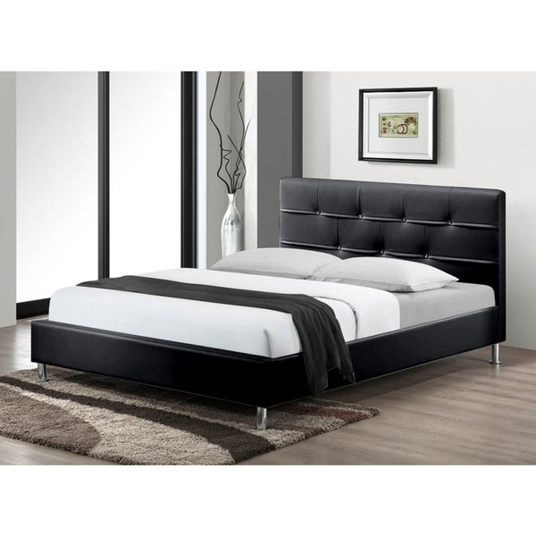 LYKE Home Charleston Black Queen Platform Bed