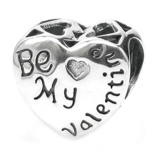 Queenberry Sterling Silver Love Heart Be My Valentine European Bead Charm