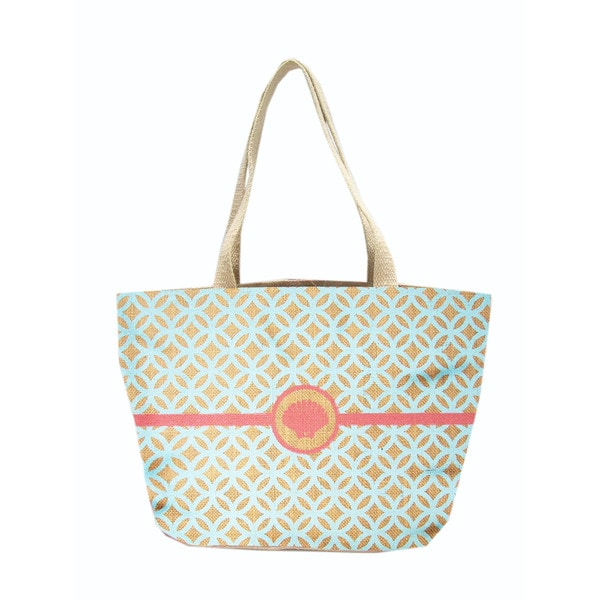 Moroccan Shell Jute Shopper Tote Bag