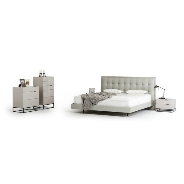 Modrest Hera Modern Grey Faux Leather Bed