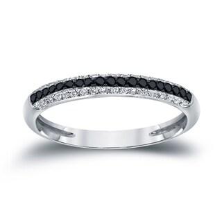 Auriya 14k White Gold 1/4ct TDW White and Black Diamonds Multi-Row Ring (Black, I2-I3)