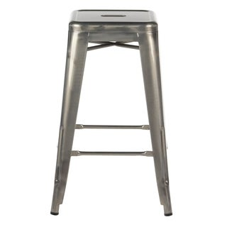Tolix-style Silver Metal Industrial Distressed Bar Stool (India)