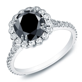 Auriya 14k Gold 2 1/3ct TDW Round-Cut Black Diamond Halo Engagement Ring (Black, SI1-SI2)