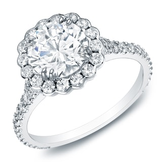 Auriya 14k Gold 2 1/3ct TDW Certified Round-Cut Diamond Halo Engagement Ring (H-I, SI1-SI2)