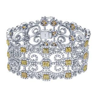 Auriya 18k Two-Tone Gold 24 1/10ct TDW Round and Cushion Cut Diamond Fashion Bracelet (Yellow, SI1-SI2)