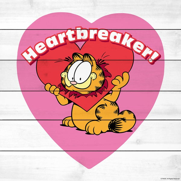 "Marmont Hill - ""Heartbreaker"" Garfield Painting Print on White Wood"