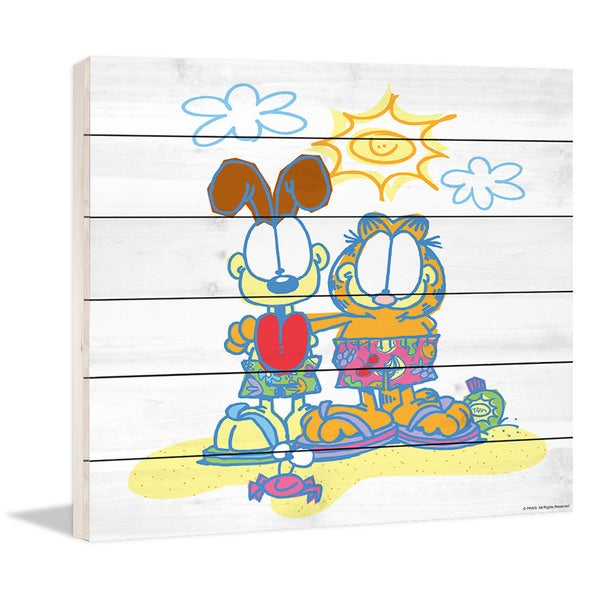 "Marmont Hill - ""Garfield & Odie on the Beach"" Garfield Painting Print on White Wood"