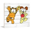 "Marmont Hill - ""Garfield & Odie Dancing"" Garfield Painting Print on White Wood"