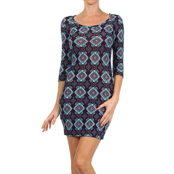 Women's Mandala Print Bodycon Mini Dress