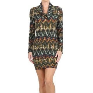 Women's Cowl Neck Border Print Mini Sweater Dress