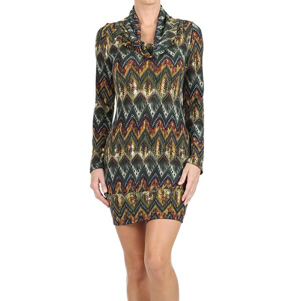 Women's Cowl Neck Border Print Mini Sweater Dress