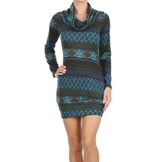 Women's Blue Print Cowl Neck Mini Sweater Dress