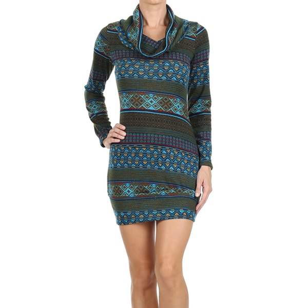 Women's Blue Print Cowl Neck Mini Sweater Dress