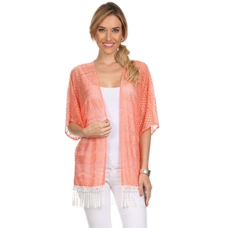 Women's Lace Open Cardigan with Fringe