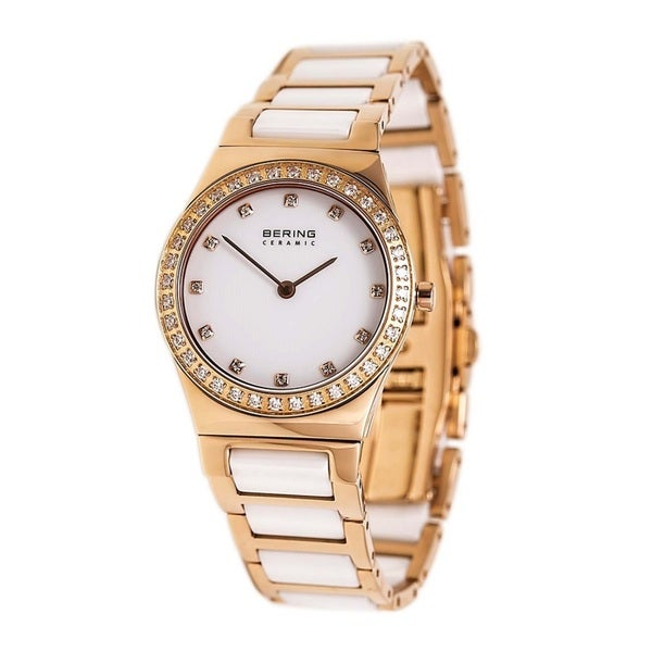 Bering 32430-761 Women's Ceramic Collection White and Rose Gold Watch