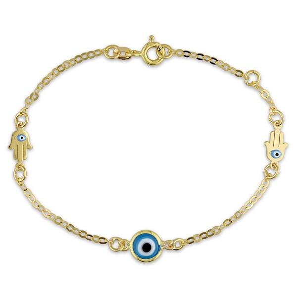 Miadora 18k Yellow Gold Hamsa Evil-eye Bracelet