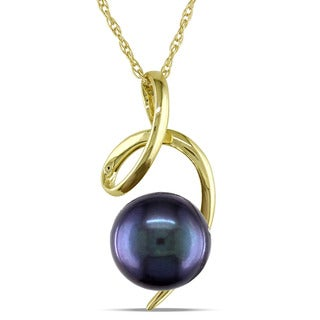 Miadora 10k Yellow Gold Cultured Freshwater Black Pearl Swirl Necklace (8-8.5 mm)