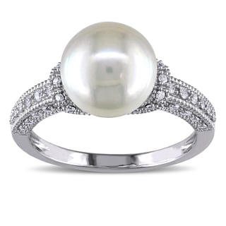Miadora 10k White Gold Cultured Freshwater White Pearl and 1/4ct TDW Diamond Cocktail Ring (G-H, I2-I3) (8.5-9 mm)