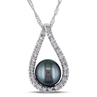 Miadora 14k White Gold Cultured Freshwater Black Pearl and 1/10ct TDW Diamond Teardrop Necklace (G-H, I2-I3) (6.5-7 mm)