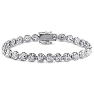 Miadora Signature Collection 18k White Gold 7 1/2ct TDW Diamond Tennis Bracelet (H-I, SI2-SI3)