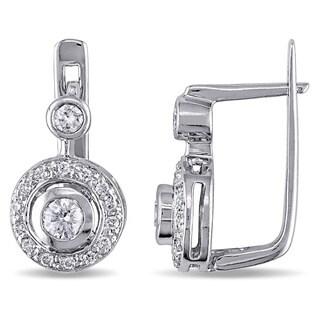 Miadora Signature Collection 14k White Gold 1/2ct TDW Diamond Halo Earrings (H-I, SI1-SI2)