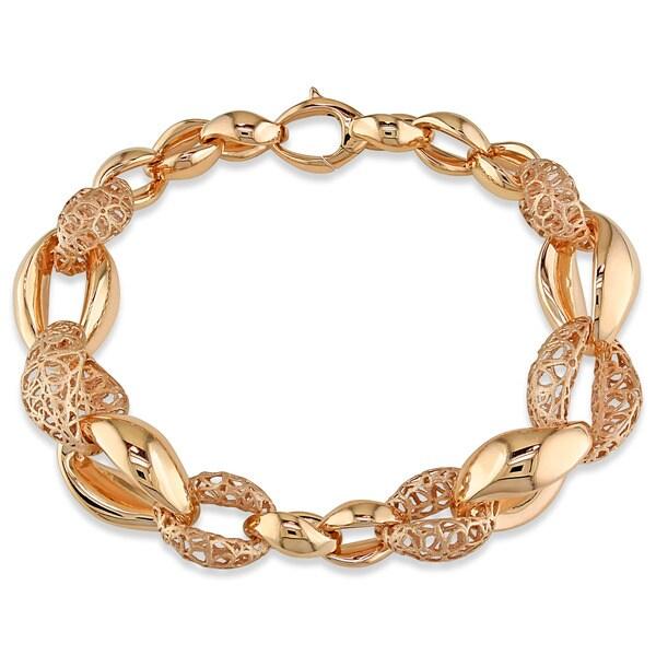 Miadora Signature Collection 18k Rose Gold Italian Fancy Link Bracelet