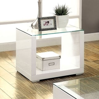 Furniture of America Shura Contemporary High Gloss End Table