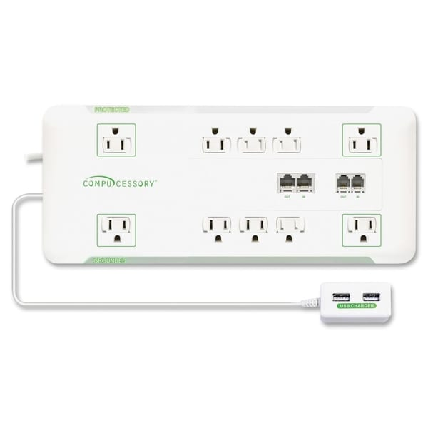 Compucessory Slim 10-Outlet Surge Block Protector - 1/EA