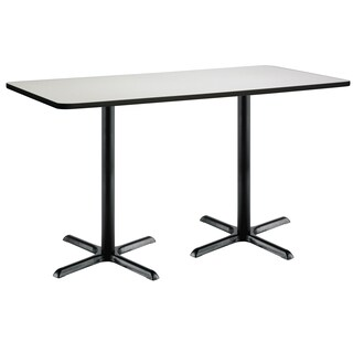 36-inch x 72-inch Bistro Height Pedestal Table with Black X-Base