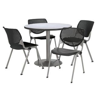Round 36-inch Pedestal Table with 4 Black KOOL Series Stack Chairs