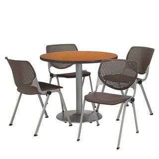 Round 36-inch Pedestal Table with 4 Brownstone KOOL Series Stack Chairs