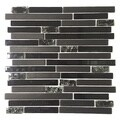 Upscale Designs 12-inch Black Glass Mesh-Mounted Mosaic Wall Tile (6 sheets)