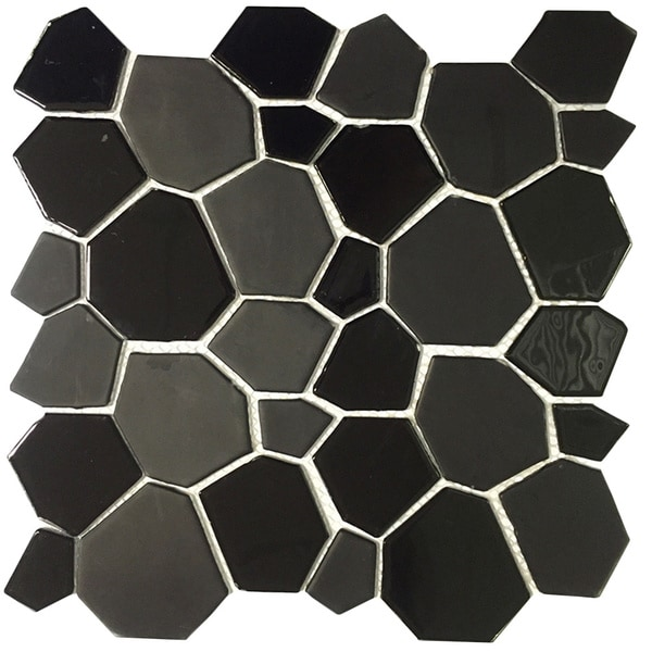 Instant Mosaic Peel and Stick 11.5-inch Black Glass Mosaic Wall Tile (6 sheets)