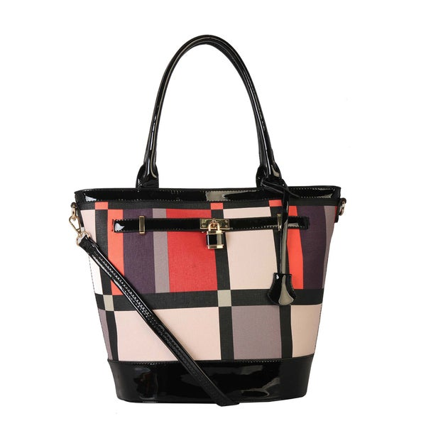 Diophy PU Patent Leather Colorful Print Shopping Shoulder Tote Handbag