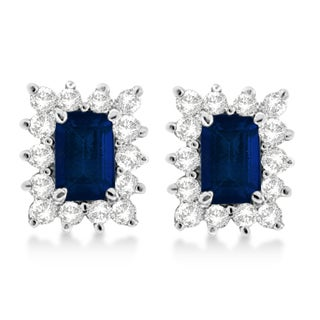 14k White Gold Emerald-cut Blue Sapphire & Diamond Stud Earrings (1.80ct)