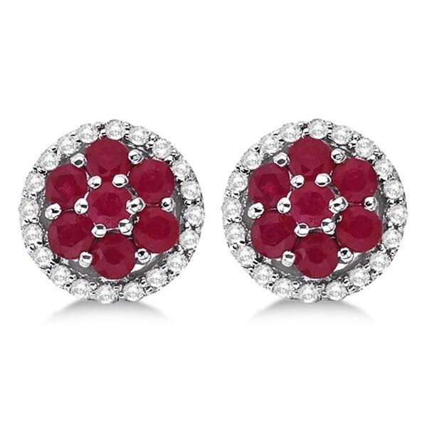 14k White Gold Ruby & Diamond Cluster Flower Shaped Earrings (0.90ct)