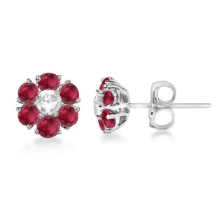 14k Gold Diamond & Ruby Flower Cluster Earrings (1.67ct)